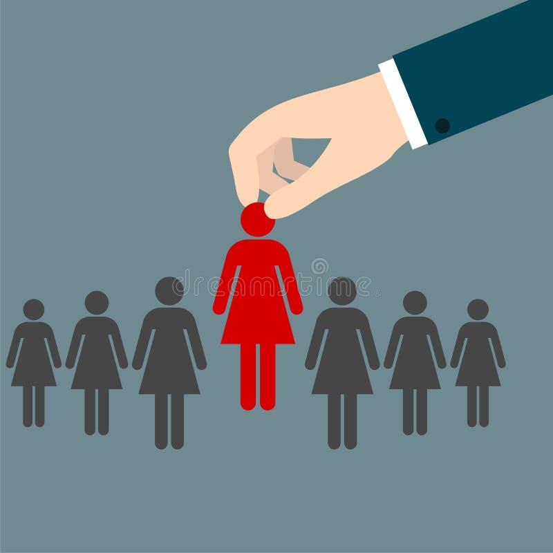 Entrevue d'emploi, concept de ressources humaines : choix du candidat parfait pour le travail illustration de vecteur