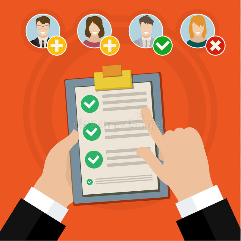 Entrevue d'emploi de qualification de candidat illustration libre de droits
