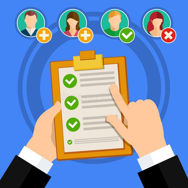 Entrevue d'emploi de qualification de candidat illustration de vecteur