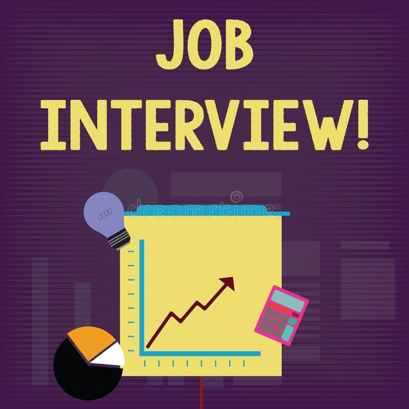 Entrevue d'emploi des textes d'?criture R?union de signification de concept dans laquelle un employeur interroge le demandeur au  illustration libre de droits