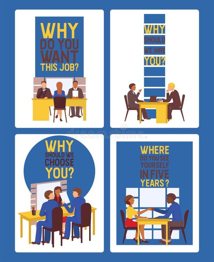 Entrevue d'emploi d'illustrateur de vecteur de réunion des employés et de patron Directeur exécutif s'asseyant au bureau avant fe illustration stock