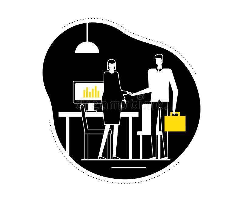 Entrevue d'emploi - illustration plate de vecteur de style de conception illustration de vecteur