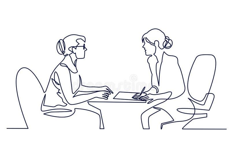Entrevue d'emploi - ligne simple moderne de vecteur une composition en conception avec le recruteur et le candidat Dessin au trai illustration de vecteur