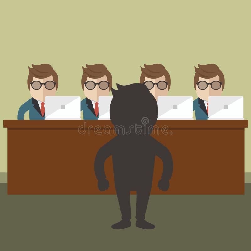 Entrevue d'emploi Nouvelles personnes de location pour le concept de travail Vecteur plat illustration de vecteur