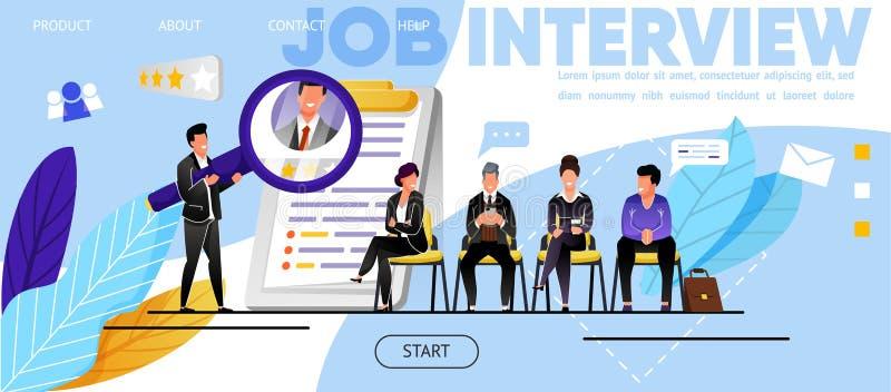 Entrevue d'emploi, recrutement Site Web, page d'atterrissage illustration stock