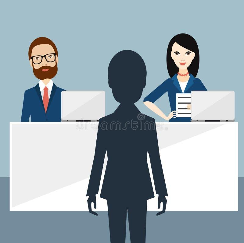 Entrevue d'emploi visuelle Dirigeant et candidat illustration libre de droits