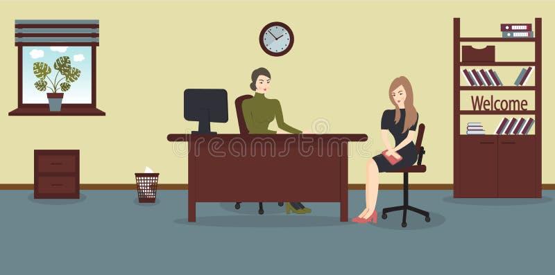 Entrevue d'heure, parlant avec un demandeur de travail Le recruteur féminin tient une réunion de la société avec la jeune femme e illustration stock