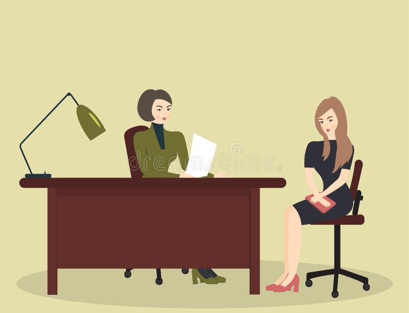Entrevue d'heure, parlant avec un demandeur de travail Le recruteur f?minin tient une r?union de la soci?t? avec la jeune femme e illustration libre de droits