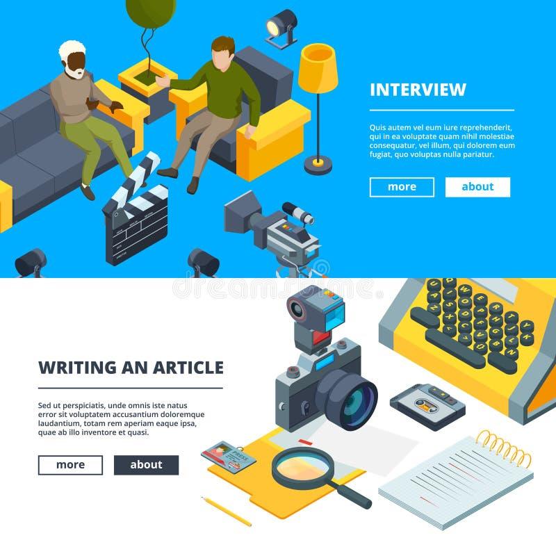 Entrevue dans le studio Bannières réglées de faire la production d'actualités illustration libre de droits