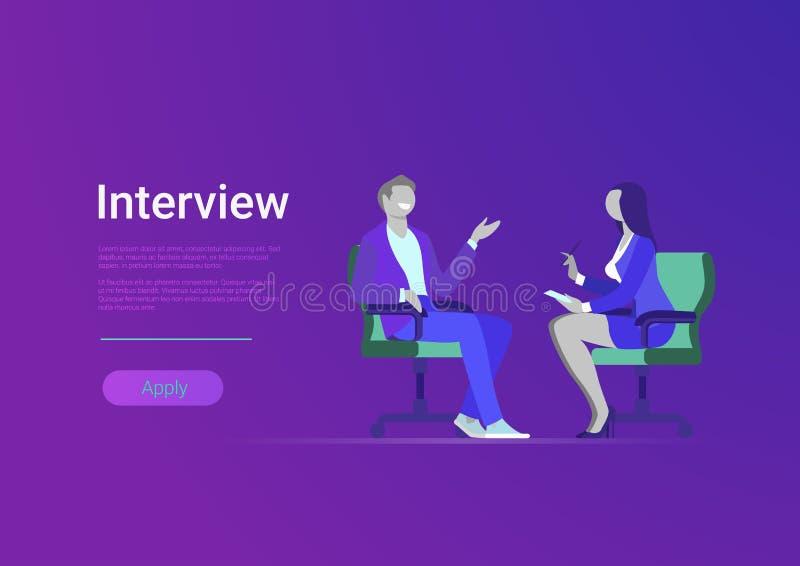 Entrevue de journaliste de femme de presse de médias de celebrit illustration de vecteur