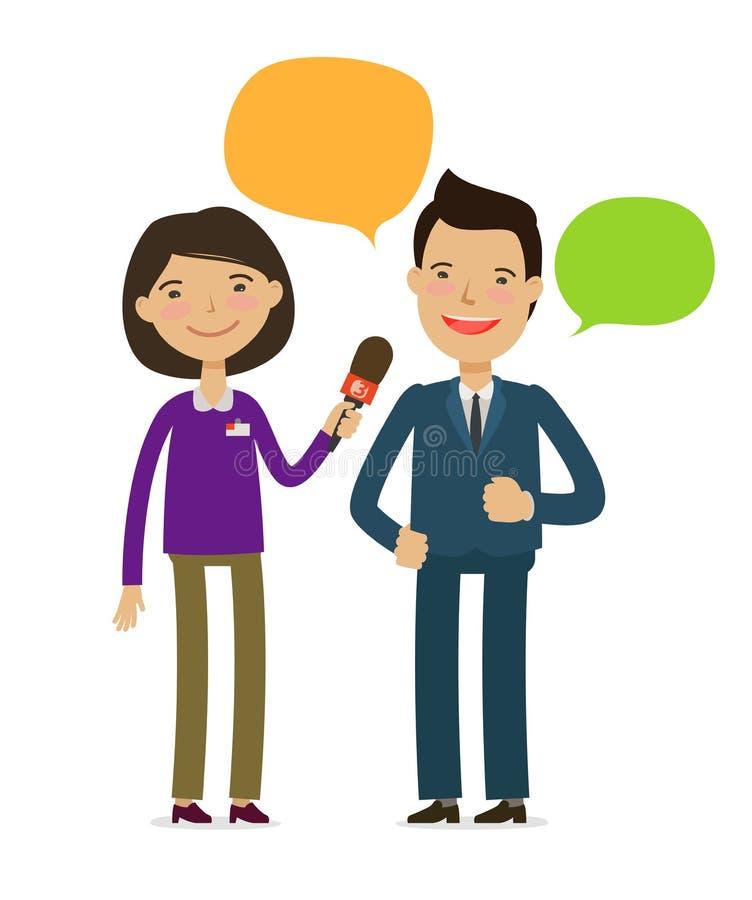 Entrevue de prise de journaliste Conférence de presse, concept de radiodiffusion de reportage Illustration de vecteur de dessin a illustration de vecteur