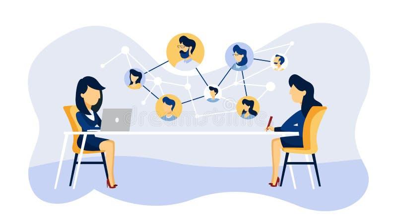 Entrevue de travail en ligne Directeur recherchant le candidat illustration libre de droits