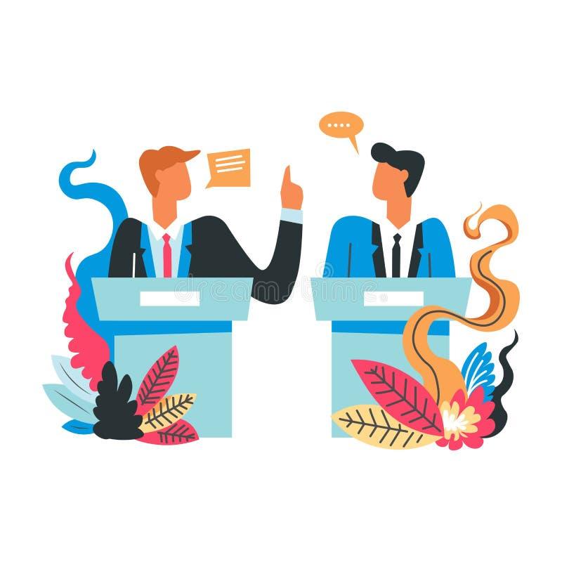 Entrevue des candidats politiques, future fièvre d'élection de président illustration de vecteur