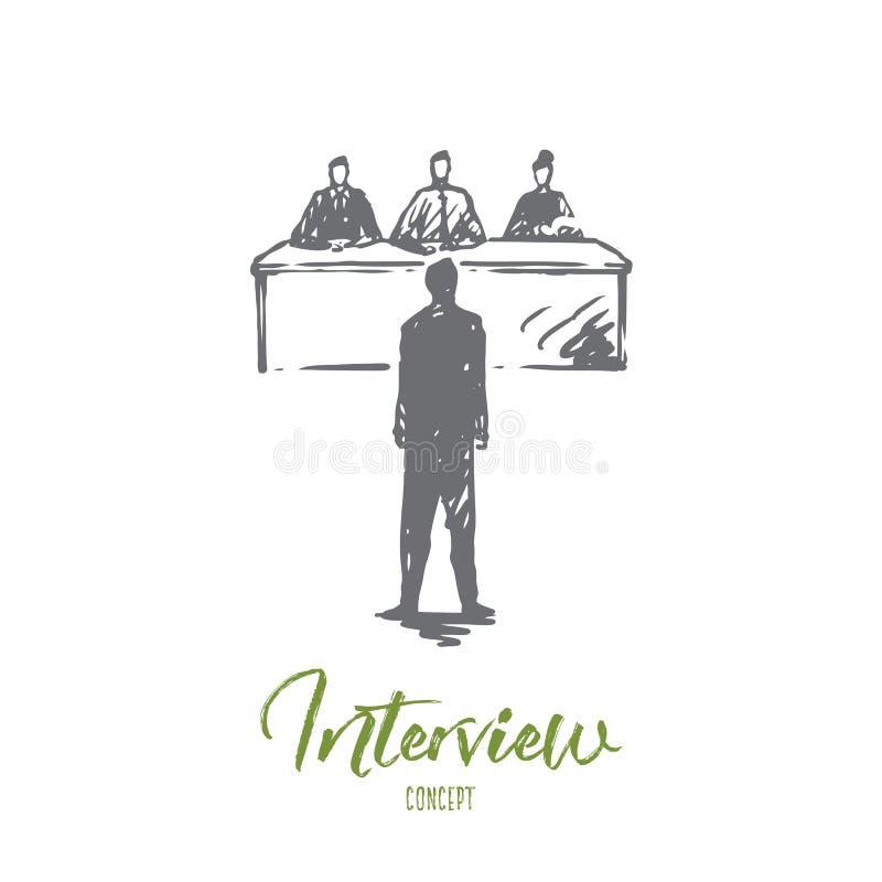 Entrevue, le travail, travail, réunion, concept de bureau Vecteur d'isolement tiré par la main illustration libre de droits