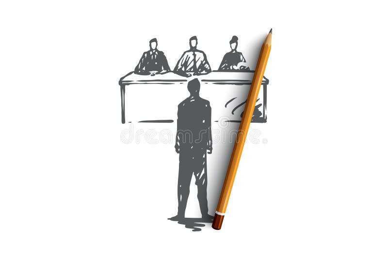 Entrevue, le travail, travail, réunion, concept de bureau Vecteur d'isolement tiré par la main illustration de vecteur