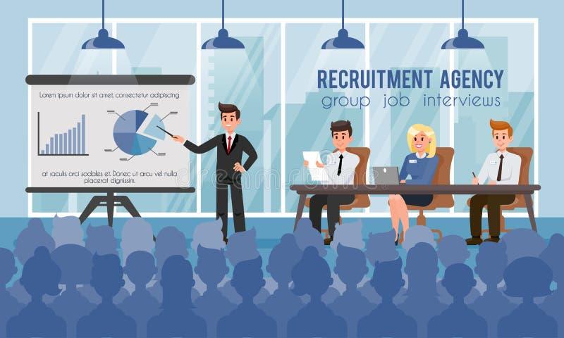Entrevues d'emploi d'agence et de groupe de recrutement Vecteur illustration stock
