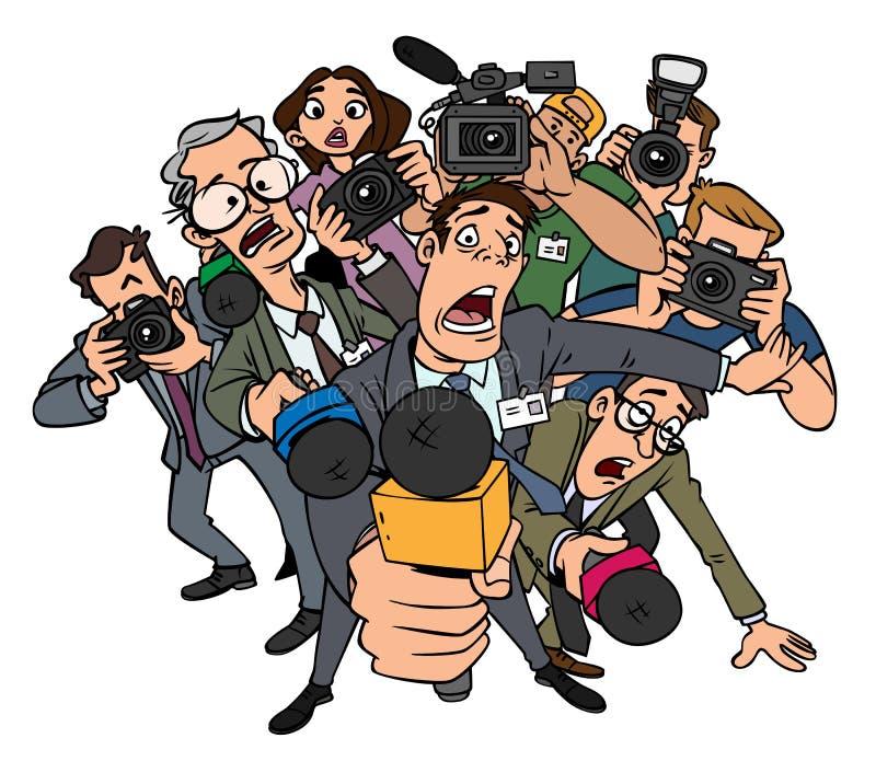 Entrevues de foule de journalistes illustration de vecteur