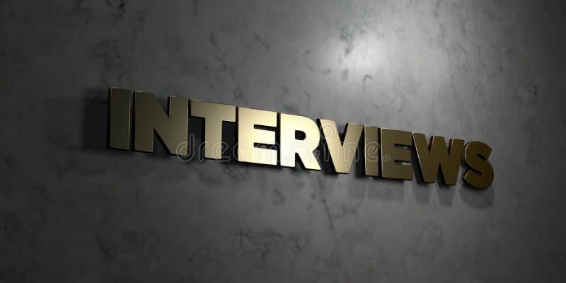 Entrevues - texte d'or sur le fond noir - photo courante gratuite de redevance rendue par 3D illustration de vecteur