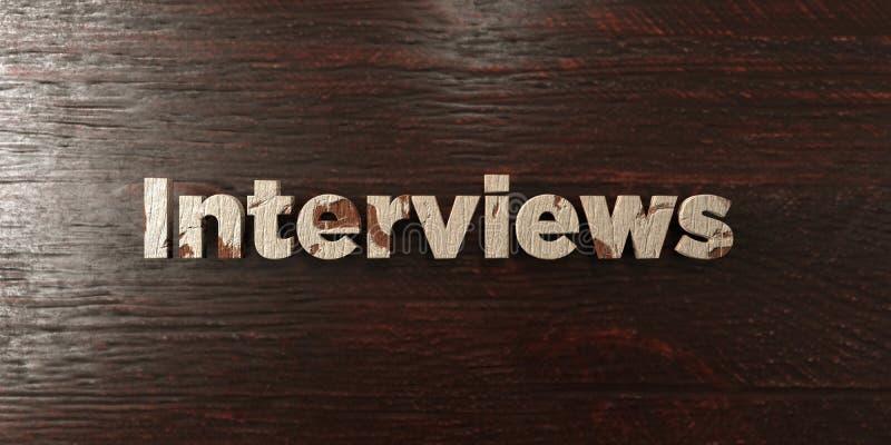 Entrevues - titre en bois sale sur l'érable - image courante gratuite de redevance rendue par 3D illustration libre de droits