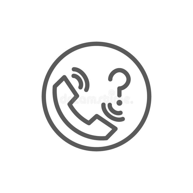 Entrez en contact avec l'appui avec la ligne icône de point d'interrogation illustration de vecteur