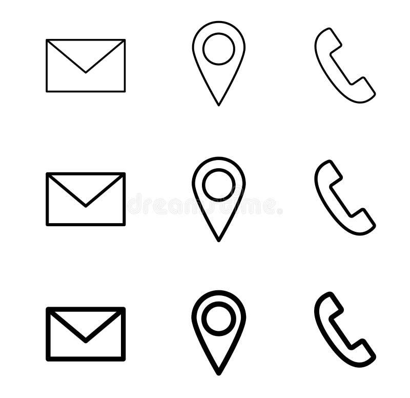 Entrez en contact avec la ligne icônes de Web courrier, téléphone et emplacement illustration stock