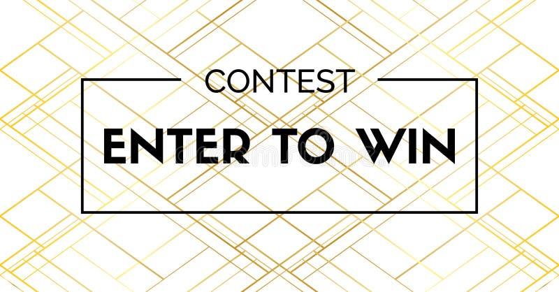 Entrez pour gagner Bannière de vecteur pour le concours social de médias illustration de vecteur