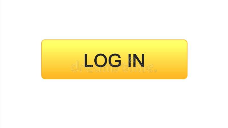 Entri il colore arancio del bottone dell'interfaccia di web, il servizio di modulo di iscrizione online, sito illustrazione di stock