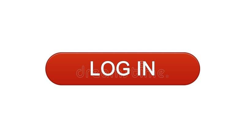 Entri il rosso di vino del bottone dell'interfaccia di web, il servizio di modulo di iscrizione online, progettazione del sito illustrazione di stock