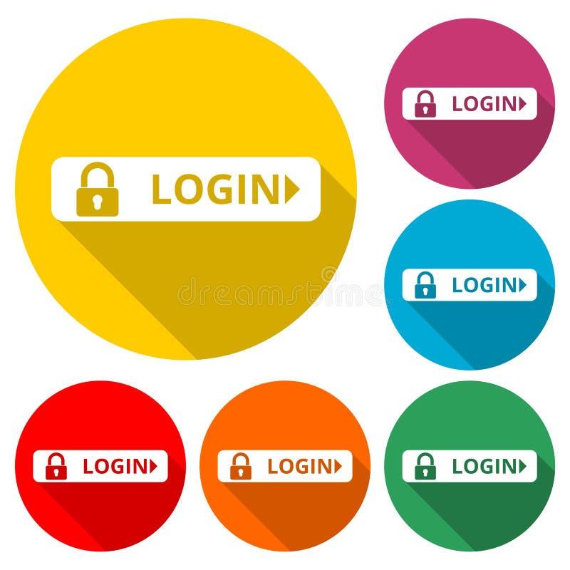 Entri l'icona, il bottone sicuro di accesso, icona di colore con ombra lunga royalty illustrazione gratis