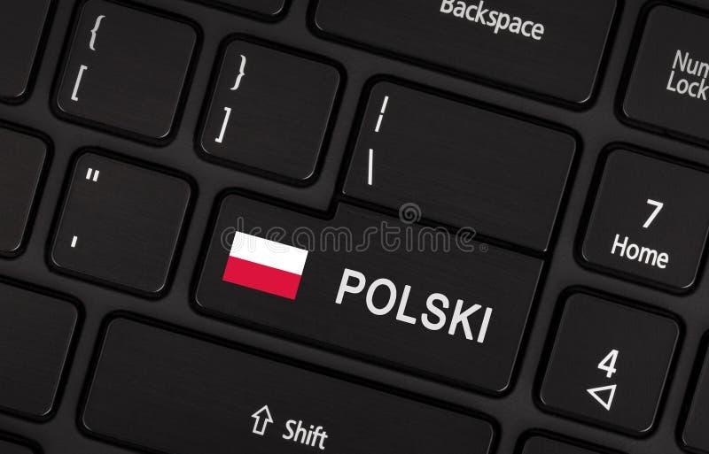 Entri nel bottone con la bandiera Polonia - concetto della lingua fotografia stock libera da diritti