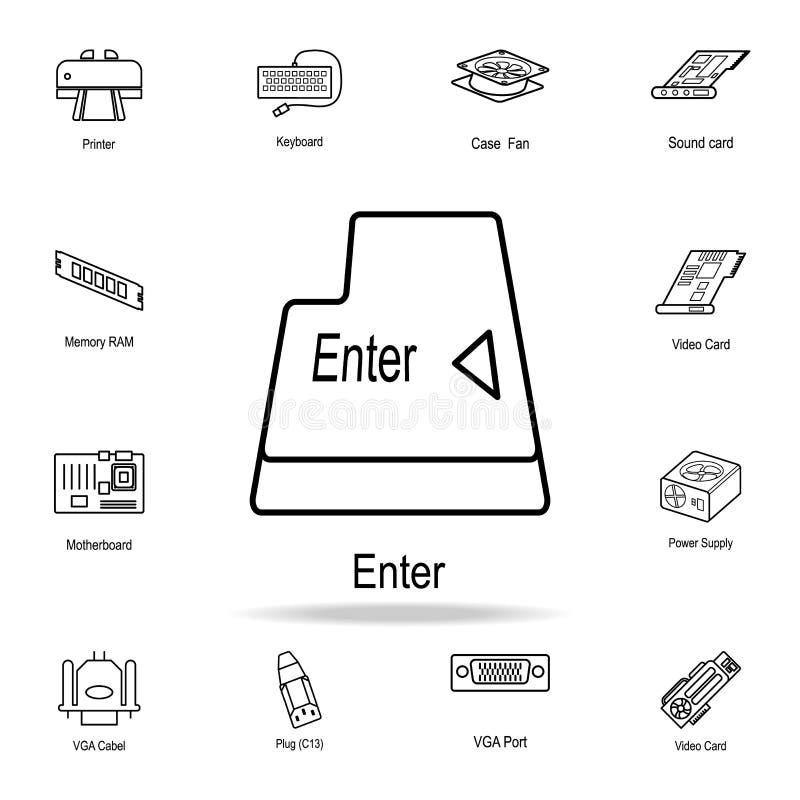 Entri nell'icona del bottone Insieme dettagliato delle icone della parte del computer Progettazione grafica premio Una delle icon illustrazione vettoriale
