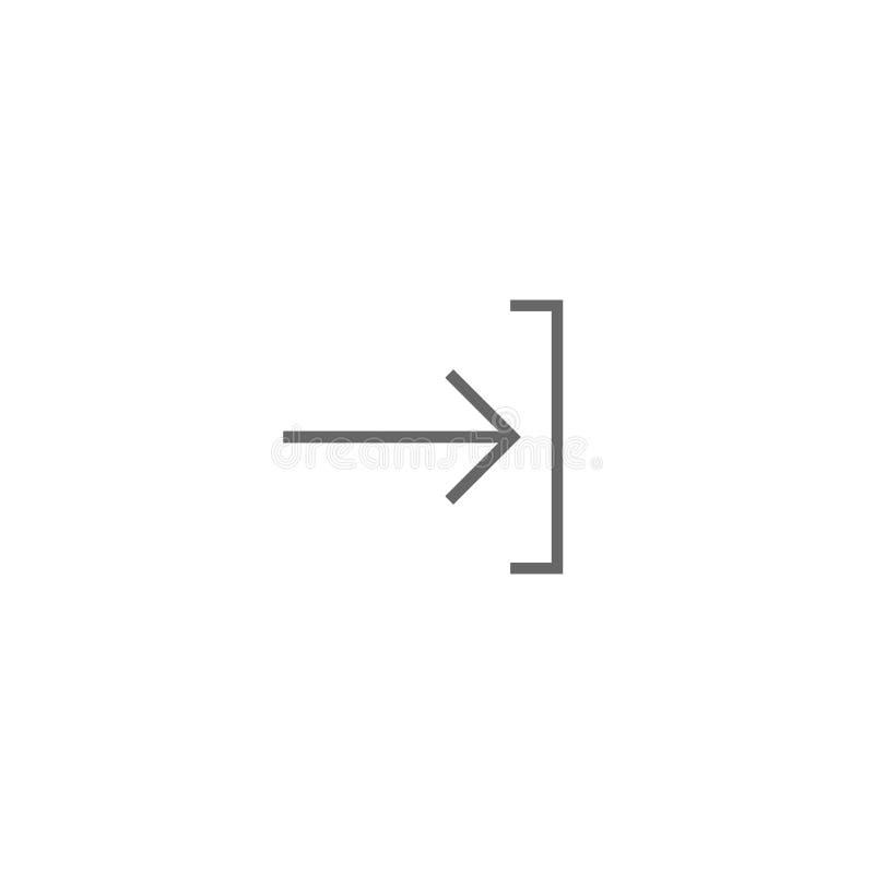 Entri o entri nell'icona Isolato su bianco Freccia sottile giusta nera con il sostegno Firmi dentro l'icona Profilo, segno dell'u illustrazione vettoriale