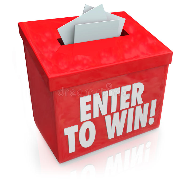 Entri per vincere i biglietti rossi delle forme di entrata della scatola di lotteria di tombola illustrazione vettoriale