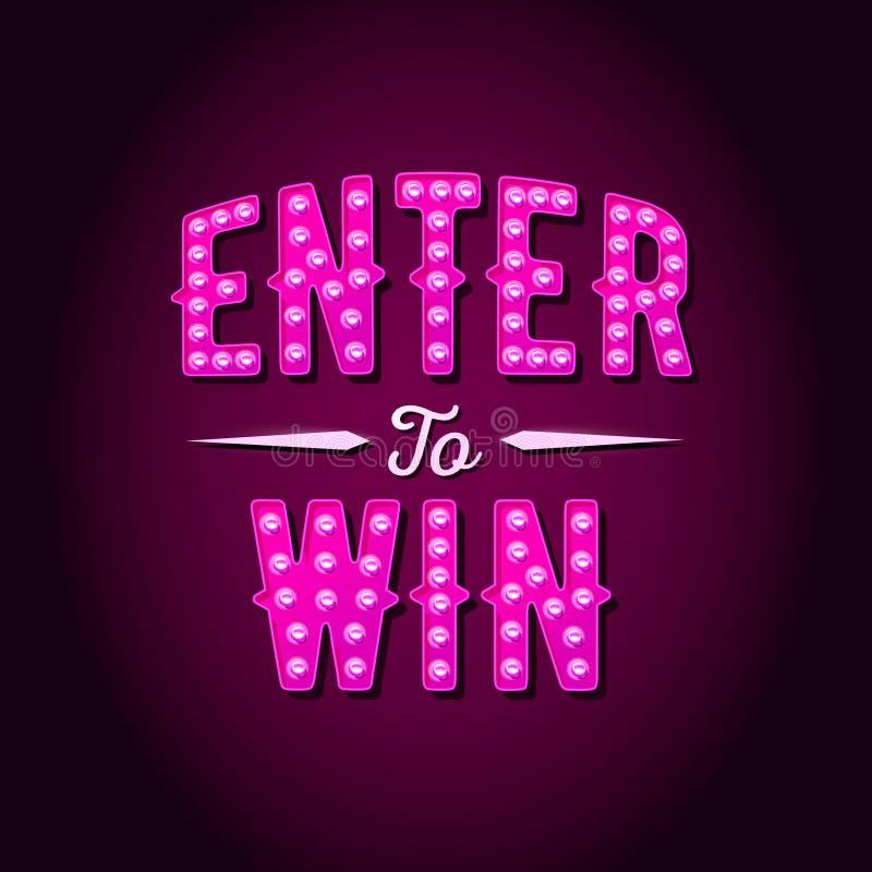 Entri per vincere il segno di vettore, vinca il premio, vittoria nella lotteria illustrazione di stock