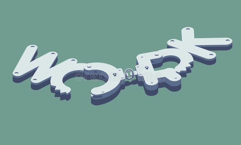 Entriegelte Handschellen hergestellt vom Arbeitswort lizenzfreie abbildung