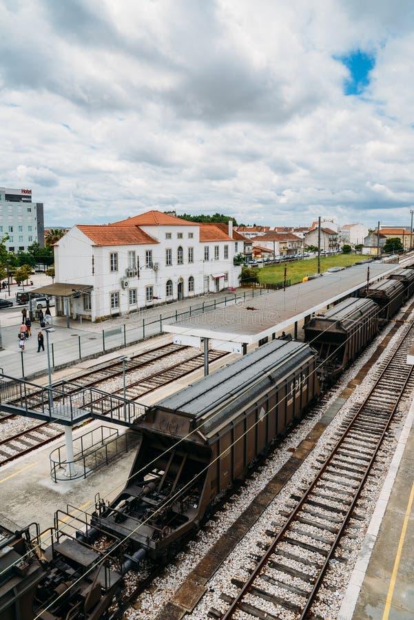 Entroncamento-Eisenbahnkreuzung im Santarem-Bezirk von Portugal Entroncamento bedeutet buchstäblich Kreuzung herein lizenzfreie stockfotografie