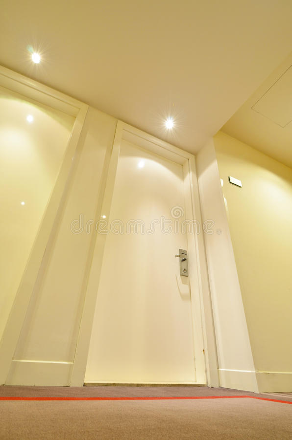 Inside Hotel Room Door: Luxury Hotel Room Door Stock Photo