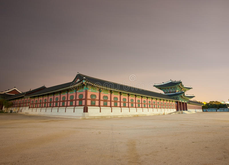 Entry Gate Gyeongbokgung Night Angled Royalty Free Stock Photo