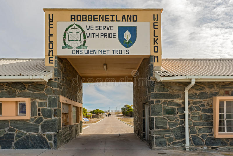 Entry gate in Robben Island, Cape Town, South Africa. Cape Town, South Africa - May 14, 2015: People walking into Robben Island Prison where Nelson M nn n royalty free stock image