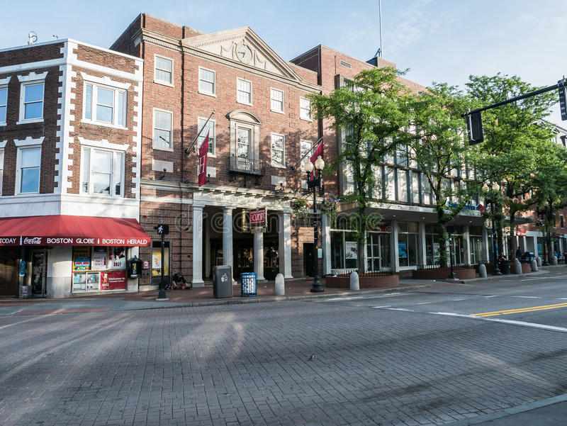 Entry of Harvard Coop as viewed across Harvard Square on quiet s royalty free stock images