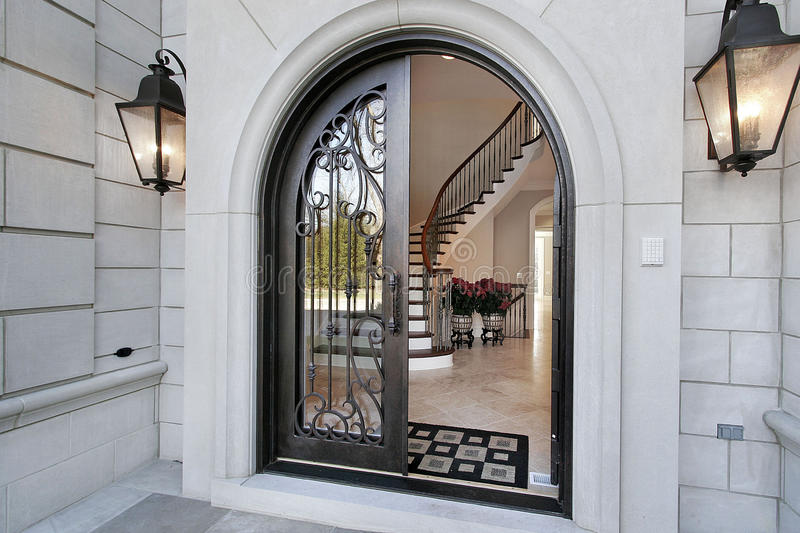 Entry into luxury home stock photos