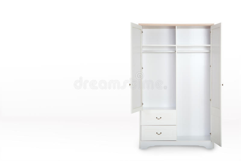Entry open white wardrobe isolated on white background. With space for copy royalty free stock photo