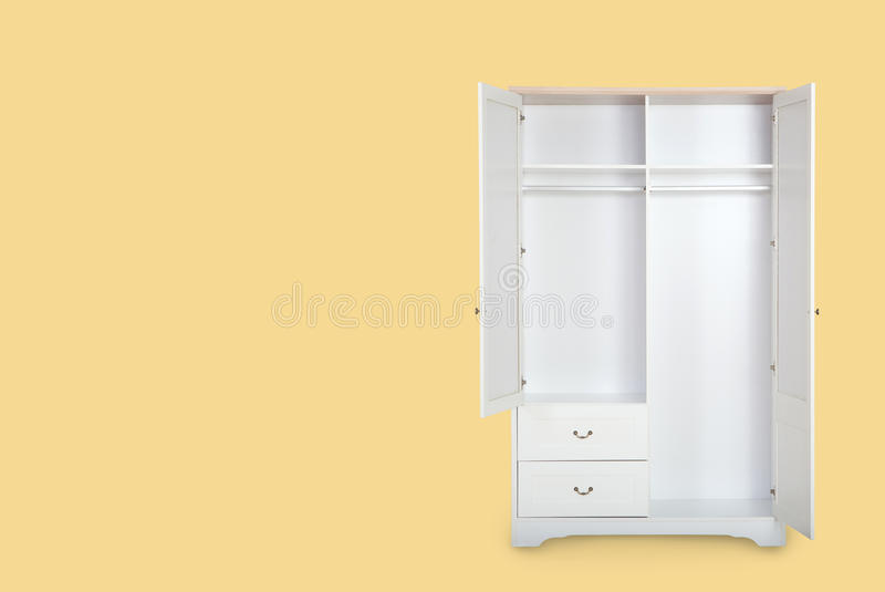 Entry open white wardrobe isolated on yellow background. With space for copy royalty free stock photos