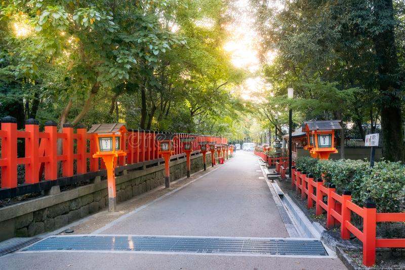 Entry Path with Lanterns at Maruyama Park, Kyoto, Japan. royalty free stock photo
