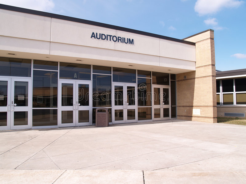 Entry for a school auditorium stock images