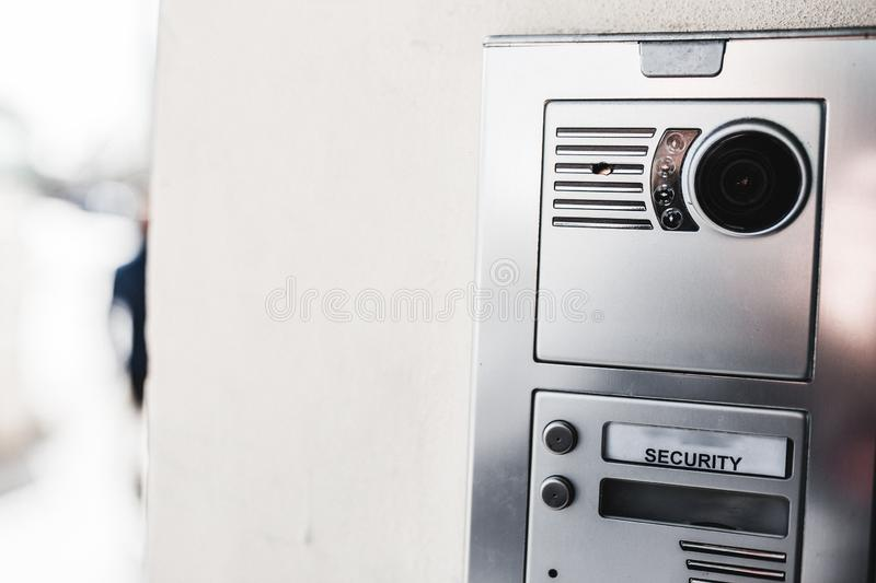 Entry security Closeup shot of a intercom on a modern new building door.  Concept of private property , household real estate royalty free stock photos