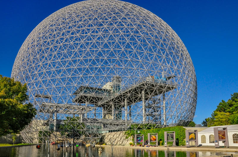 Entry to the Biosphere in Montreal on a sunny day royalty free stock photos