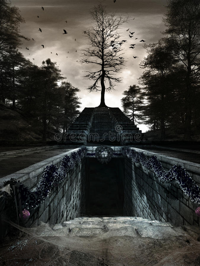 Entry to old crypt. Gloomy scenery with dark forest,garlands, baubles and stairs to old crypt royalty free illustration