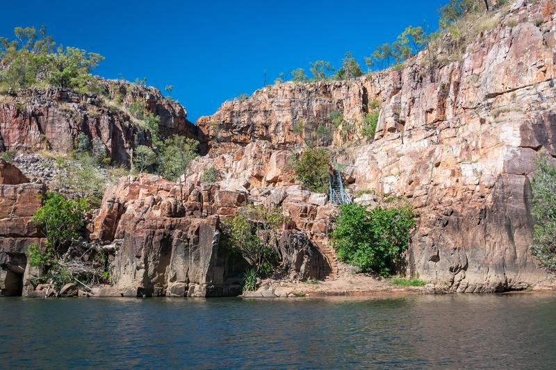 Safe oasis for a swim during the Katherine River Gorge cruise. Entry up the stairs to a secluded lily pond where it is safe to swim with no crocodiles, a stop royalty free stock images