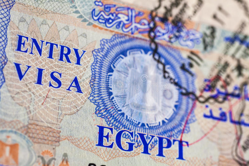 Entry Visa. Detail of Egyptian Entry Visa on a real passport stock image